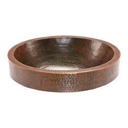 "Premier Copper Products - Premier Copper Products 18"" Oval Skirted Vessel Hammered Copper Sink - Uncompromising quality, beauty, and functionality make up this Premier Oval Vessel Style Bathroom Sink With Skirted Rim."