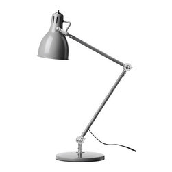 Aröd Work Lamp, Gray - A classic, industrial-style desk lamp will always put the focus on your work. Go for this affordable version from Ikea.
