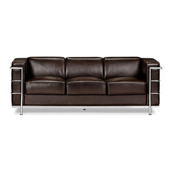 Zuo Modern - Fortress Sofa Espresso - A Mid-Century classic series, the Fortress comes with leather seating, leatherette back and side with a chrome steel tube frame. It comes in black, white or espresso.