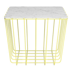 Blu Dot - Blu Dot Scamp Medium Table, Yellow Base - Marble Top - Three sizes, three base finishes and two tops to choose from to scatter or cluster. Mix and match our little Scamp to form your own landscape of beauty and utility.