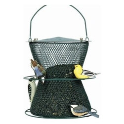 No-No Feeder - Green Hourglass Bird Feeder - NO/NO's Green Hourglass bird feeder is made from all metal collapsible wire mesh which helps protect wild birds from avian diseases. This feeder holds over 6 pounds of Black Oil Sunflower Seeds which is the preferred feed for most birds.