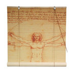 Oriental Furniture - Vitruvian Man Bamboo Blinds - (36 in. x 72 in.) - Add a sophisticated accent to your interior dTcor with this bamboo blind, featuring a high definition print of the  Vitruvian Man , the world's most famous anatomical study. Crafted from all natural bamboo matchsticks, this stately blind is easy to set up and adds a stunning accent to any room.