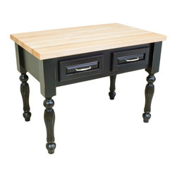 "Inviting Home - Kitchen Island (distressed black) - Kitchen island in distressed black finish; 45-15/16""W x 28-1/16""D x 34-1/4""H; 1-3/4"" hard maple butcher block top (03) sold separately; Kitchen island in distressed black finish. Kitchen island features soft close under-mount slides on drawers and reeded kitchen island legs. 1-3/4"" hard maple butcher block top (03) sold separately."