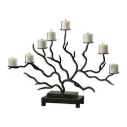 Uttermost - Uttermost 19866  Esher Twig Candelabra - Bronze metal, hand forged into delicately designed twigs. distressed beige candles included.