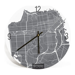 "Artnwalls - SAN FRANCISCO MAP ART Wall Clock - Unique Contemporary Art Wall clock - 11"" - Abstract San Francisco CA, map art - Features the streets of city by the bay,"