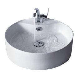Kraus - Kraus White Round Ceramic Sink and Typhon Basin Faucet - Add a touch of elegance to your bathroom with a ceramic sink combo from Kraus