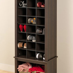 "Prepac Espresso Tall Shoe Cubbie Cabinet - This cabinet is made of durable laminated composite woods and finished in ""hide-the-scuffs"" espresso. A perfect fit for any foyer, entryway or bedroom, the cabinet has 24 spacious cubbies that can fit men's size 13 shoes and a large bottom compartment for boots, bags or basket to hold accessories."