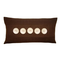 Squarefeathers - Exotic, 5 Button Pillow - The Exotic Collection is perfect for a large room with multiple furniture pieces. The brown tone color scheme is neutral for open areas. Made of faux linen with a knife edge trim. It has a soft and pump feataher/down insert inclosed with a zipper. Like all of our products, this pillow is handmade, made to order exclusively in our studio right here in the USA.