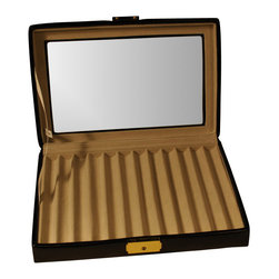 Budd Leather - Leather 12 Pen Box With Glass Top Black - Leather 12 Pen Box With Glass Top  Black.