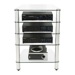 RTA Home & Office - 8mm Tempered Glass Shelf Sound System Rack w Cord Concealing Support - Keep your additional electronic devices organized and usable with this five tiered audio tower.  A cord hiding system will keep messy wires out of sight, and each glass shelf is easy to clean.  Tubular chrome supports keep this shelving unit steady and stable.  Have a lot of home entertainment center equipment lying around?  Feature five sturdy 8mm clear tempered glass shelves with a unique cord concealing design built into the shiny aluminum finish back to hide all unsightly wires and plugs. * Rack features five tempered 8mm clear glass shelves providing ample space to store audio and gaming components, DVD and VCR players. The cord management system reduces unsightly wires. Easy to assemble. Accessories not included. Height of top 3 shelves: 5.75 in. H. Height of bottom shelf: 9.5 in. H. 34 H X 24 W X 20.25 D