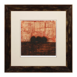 """Roma - Weathered Landscape I - Trees in the far-off distance appear as small specks of shadow against a textured background in this compelling giclee. Juxtaposed with a contemporary frame, Weathered Landscape I elicits captivation whether hung over a modern mantle or accessorized with a rustic bed. 39.25""""W x 39.25""""H; Frame features a hand-applied distressed finish in brown; Tones of brown and orange; All mouldings manufactured in Italy using only woods from active reforestation programs. This piece is delivered in recycled or environmentally friendly packaging materials whenever possible."""