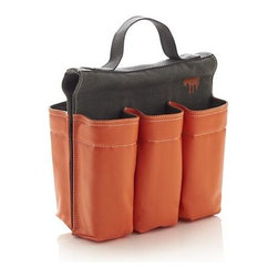 6-Pack Bike Bag - Saddle up the bike with a ride-refreshing six-pack of soda or water. Plastic-coated canvas bag in attention-getting orange and grey has roomy compartments to hold up to six .5-liter bottles. Velcro fasteners secure bag underneath the bike's crossbar. Convenient handle makes easy toting from refrigerator to final destination.