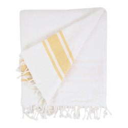 Nine Space - Nine Space Ayrika Gold Ocean Terry Oversize Fouta Towel - Nine Space Ayrika Gold Ocean Terry Oversize Fouta TowelTalk about versatility! The Ayrika Gold Ocean Terry Oversize Fouta Towel from Nine Space can be used as a beach towel, a bath towel, a table linen, or even a throw. One side features woven cotton that repels sand, while the other side is lined with soft and absorbent terry cotton. Yellow stripe detailing gives it a casual look that can go beachy in a coastal home or charming in a country cottage. Plus, each fouta is large enough to fit two people or to cover a generous table. Now that's how to do form and function right.Woven cotton on one side; terry cotton on the reverseMade in Turkey