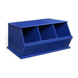 Badger Basket Three Bin Storage Cubby - Blue - The Badger Basket Three Bin Storage Cubby - Blue features three wide cubbies that make it a snap to load and unload toys books winter accessories craft supplies and more. It features three 11L x 17.5W x 15.6H-inch cubbies and a sturdy top made strong enough to stand up to even your kids. It is made of wood composites and metal hardware and is easy to clean with a damp cloth and mild detergent. Best of all this cubby is stackable for multiple levels of storage! This three-bin storage cubby comes in a bright blue non-toxic painted finish and complies with all current applicable ASTM safety standards. If stacking three or more bins we recommend using wall anchor/furniture safety straps (not included) to anchor the units to the wall for safety and stability. Fun and functional!Badger Basket CompanyFor over 65 years Badger Basket Company has been a premier manufacturer of baskets bassinets bassinet bedding changing tables doll furniture hampers toy boxes and more for infants babies and children. Badger Basket Company creates beautiful and comfortable products that are continually updated and refreshed bringing you exciting new styles and fashions that complement the nostalgic and traditional products in the Badger Basket line.This product is covered with a 30 day parts warranty to the original purchaser. If you need assistance with product parts or hardware upon opening the package please do not call the store where you made your purchase. Call the Badger Basket Company instead at 1-800-236-1310. Most problems are resolved promptly without you needing to leave home.