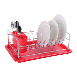 None - Dish Rack with Utensil Holder and Red Drain Tray - This red dish rack is perfect for storing your clean dishes as they dry and is a great addition for any modern kitchen. A useful utensil holder helps to separate your dishes.