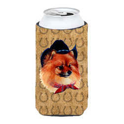 Caroline's Treasures - Pomeranian Dog Country Lucky Horseshoe Tall Boy Koozie Hugger - Pomeranian Dog Country Lucky Horseshoe Tall Boy Koozie Hugger Fits 22 oz. to 24 oz. cans or pint bottles. Great collapsible koozie for Energy Drinks or large Iced Tea beverages. Great to keep track of your beverage and add a bit of flair to a gathering. Match with one of the insulated coolers or coasters for a nice gift pack. Wash the hugger in your dishwasher or clothes washer. Design will not come off.