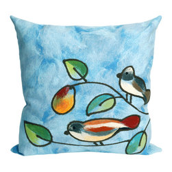 "Trans-Ocean - Song Birds Blue Pillow - 20"" SQ - The highly detailed painterly effect is achieved by Liora Mannes patented Lamontage process which combines hand crafted art with cutting edge technology.These pillows are made with 100% polyester microfiber for an extra soft hand, and a 100% Polyester Insert.Liora Manne's pillows are suitable for Indoors or Outdoors, are antimicrobial, have a removable cover with a zipper closure for easy-care, and are handwashable."