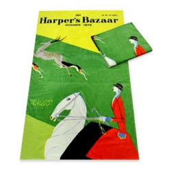 Alok International, Inc. - Harper's Bazaar New York Fashions Cotton Beach Towel - Relax in style with this vintage Harper's Bazaar Magazine cover beach towel. It features two shades of green with a woman riding a white horse.