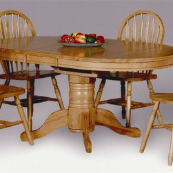 """Sunset Trading - 5-Pc Eco-Friendly Dining Set - Includes one oval shaped extension table and four large arrow back chairs. Traditional and classic American style. Sturdy quality craftsmanship. Table:. Classic and timeless and and with the memories made. One self-storing 12 in. butterfly leaf. Other self Storing 18 in. butterfly leaf converts from 54 in. L to 66 in. L. Adjustable feet levelers. Pedestal base with adjustable feet. Chair: Windsor style arrow back chair with curved, comfort back and scooped seat. Perfectly carved and steel reinforced turned legs. Large backrest and seating area to provide an ideal seating solution. Warranty: One year. Made from Malaysian Oak. Antique black and cherry finish. Light oak finish. Made in Malaysia. Table assembly required. Chair: 20 in. W x 19.5 in. D x 38 in. H (16 lbs.). Table:. Minimum: 54 in. L x 42 in. W x 30 in. H. Maximum: 66 in. L x 42 in. W x 30 in. H. Weight: 106 lbs.. Overall weight: 170.23 lbs.Welcome guests into your home with a touch of country comfort with this from the Sunset Trading - Sunset Selections Collection. Whether it's casual """"coffee and conversation"""", everyday dining, holidays or special occasions, memories are guaranteed to be made when family and friends gather around this versatile dining table. Warm and inviting, the classic beauty and craftsmanship of this dining tables makes it equally appropriate for your kitchen or dining room fulfilling all your formal and informal dining needs. Pair this table with your choice of Sunset Selections arm and side chairs to appropriately complete your informal or formal dining space. This relaxed dining piece will bring warmth and comfort to your home for years to come!"""