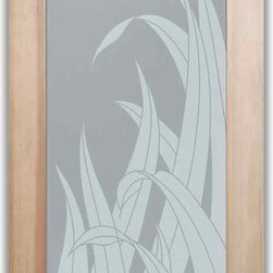 """Bathroom Doors - Interior Glass Doors Frosted - Reeds - CUSTOMIZE YOUR INTERIOR GLASS DOOR!  Interior glass doors or glass door inserts.  .Block the view, but brighten the look with a beautiful interior glass door featuring a custom frosted privacy glass design by Sans Soucie! Suitable for bathroom or bedroom doors, there are no clear areas on this glass.  All surface areas are etched/frosted to be 100% opaque.  Note that anything pressed up against the glass is visible, and shapes and shadows can be seen within approx. 5-12"""" of the glass.  Anything 5-12"""" from the glass surface will become obscured.  Beyond that distance, only lights and shadows will be discernible. Doors ship for just $99 to most states, $159 to some East coast regions, custom packed and fully insured with a 1-4 day transit time.  Available any size, as interior door glass insert only or pre-installed in an interior door frame, with 8 wood types available.  ETA will vary 3-8 weeks depending on glass & door type........  Select from dozens of sandblast etched obscure glass designs!  Sans Soucie creates their interior glass door designs thru sandblasting the glass in different ways which create not only different levels of privacy, but different levels in price.  Bathroom doors, laundry room doors and glass pantry doors with frosted glass designs by Sans Soucie become the conversation piece of any room.   Choose from the highest quality and largest selection of frosted decorative glass interior doors available anywhere!   The """"same design, done different"""" - with no limit to design, there's something for every decor, regardless of style.  Inside our fun, easy to use online Glass and Door Designer at sanssoucie.com, you'll get instant pricing on everything as YOU customize your door and the glass, just the way YOU want it, to compliment and coordinate with your decor.   When you're all finished designing, you can place your order right there online!  Glass and doors ship worldwide, custom packed in-hou"""
