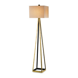 Currey and Company - Bel Mondo Floor Lamp - If you're searching for relaxed refinement, this floor lamp fits the bill. Topped with a chic square shade, it's supported by an open, pyramid-shaped wrought iron base. Contrasting gold and black finishes draw the eye and light up your space with a contemporary allure.