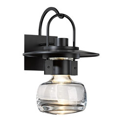 "Hubbardton Forge - Arts and Crafts - Mission Hubbardton Forge Mason 16"" High Black Outdoor Wall Lig - Bring industrial inspired style to your home's exterior with this outdoor wall light. An orb of thick blown clear glass extends from a lantern-like black finish frame creating a look full of distinct style. Made of aluminum. Mount near garages and entryways for added illumination. From the Mason Collection by Hubbardton Forge. Mason collection large outdoor wall light. By Hubbardton Forge. Black finish. Thick blown clear glass. Aluminum construction. Includes one 75 watt G9 bulb. 16"" high. 11 1/2"" wide. Extends 12 1/4"" from the wall. Backplate is 6"" high 5 1/2"" wide.   Mason collection large outdoor wall light.  By Hubbardton Forge.  Black finish.  Thick blown clear glass.  Aluminum construction.  Includes one 75 watt G9 bulb.  16"" high.  11 1/2"" wide.  Extends 12 1/4"" from the wall.  Backplate is 6"" high 5 1/2"" wide."