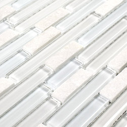 "Linear Glass Marble Mosaic Tile White - Linear Glass Marble Mosaic Tile White is a comabination of glass and white stone mounted on a 12""x12"" interlocking sheet, which allows for an easy installation. The individual tile size varies from 1/2""x2"" to 1/2""x6"" and is 8mm tick. This can be used as accent tiles on Bathrooms Walls, Kitchen Backsplash, Feature Wall, and Fireplace Surrounds. This tile sold by the sheet."