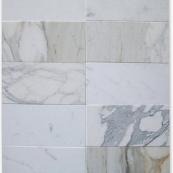 """Stone Center Online - Calacatta Gold 6 x 12 Subway Tile Honed - Marble from Italy - Premium Grade Calacatta Marble Italian Calcutta Gold Honed 6x12"""" Wall & Floor Tiles are perfect for any interior/exterior projects such as kitchen backsplash, bathroom flooring, shower surround, countertop, dining room, hall, lobby, corridor, balcony, terrace, spa, pool, etc. Our large selection of coordinating products is available and includes hexagon, herringbone, basketweave mosaics, field tiles, moldings, borders, and more."""