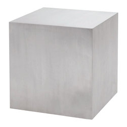 Nuevo Living - Caldo Side Table by Nuevo - HGTA192 - The Caldo side table it fairly simple.  It is a block of brushed stainless steel.  The inside is hollow and features a wood support frame.  The Caldo is perfect for many uses.
