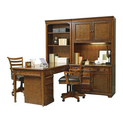 "Hooker Furniture - Shelton Computer Credenza - White glove, in-home delivery included!  Furniture assembly included!  The ever pratical Shelton collection is crafted from poplar solids and alder veneers.  Computer Credenza only.  Shown with Mobile File, Open Hutch, Peninsula Desk, Computer Credenza Hutch, and Tilt Swivel Chair - sold seperately.  Shown on right end of wall unit under the Computer Credenza Hutch.  One FC737 power bar with two electrical outlets and one USB port, top drawer has drop-front for keyboard use, one utility drawer, one locking file drawer with pendaflex letter/legal filing system, one door with one adjustable shelf and one pullout printer tray behind.  Keyboard space: 36 7/8"" w x 14 1/8"" d x 2 5/8"" h  Printer space: 17 1/4"" w x 18"" d x 16 3/16"" h"
