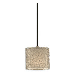 Uttermost - Brandon Silver 1-Light Mini Drum Pendant - Bring the constellations indoors with this heavenly hanging lamp. The contemporary champagne drum shade is adorned with nickel-plated dots and lines that form abstract geometric shapes. Connect the dots and see what constellations you find while you light up your room in style.