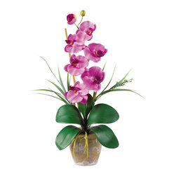 "Nearly Natural - Nearly Natural Single Stem Phalaenopsis Silk Orchid Arrangement in Mauve - Bursting with color and personality the Phalaenopsis is perhaps the most popular variety of all the orchids. Six lively blooms and two buds are complimented by genuine bamboo, which enhances the silk plant's authenticity. Featuring nearly natural leaves, moss and roots, this familiar favorite is sure to charm the masses. Color: Mauve, Height: 21"", Vase: H 4-1/4"" W 5-1/4"""
