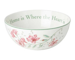 "Lenox - Lenox Butterfly Meadow Sentiment Bowl - Set of 4 Multicolor - LNOX710 - Shop for Bowls from Hayneedle.com! Decorative as well as functional the Lenox Butterfly Meadow Sentiment Bowl - Set of 4 is great for both special occasions and as a gift for a loved one. The outside of this porcelain bowl is decorated with a colorful floral motif complete with buzzing bumblebees while the inside of the bowl is inscribed with ""Live Well Laugh Often Love Much."" Crafted of fine porcelain this set is dishwasher- and microwave-safe.Set Includes:4 bowls: 9 diam. inches. 68 oz. (8.5-cup) capacity"