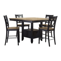 Liberty Furniture - Liberty Furniture Al Fresco II 5 Piece 54 Inch Square Counter Height Set - Al Fresco or dining in the outdoors brings to mind an open air natural feel. Al Fresco Casual Dining is a fresh approach to a casual rustic style. Two tone finish with tops of the tables in driftwood and the base in a black finish. Tops feature planked design with round/square peg accents. Tapered block legs carry the casual rustic theme of the group. Butterfly leaf square counter table has a pedestal storage base with a storage drawer and top shelving. What's included: Counter Height Table (1), Counter Height Stool (4).