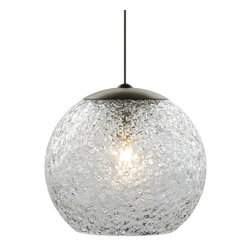 "LBL Lighting - LBL Lighting Mini Rock Candy G Clear 50W Monopoint 1 Light Mini Pendant - LBL Lighting Mini Rock Candy G Clear 50W Monopoint 1 Light Mini PendantThe handiwork of talented craftspeople, this stunning Clear Monopoint pendant goes through several processes to give it a unique finish. First, a sphere of mouth-blown transparent glass is created, then it is rolled in Clear crystal frit and finally flash heated to an extremely high temperature to create the unique texture you see before you. This wondrous masterpiece is lit from the inside with a 50 watt xenon lamp and will accent any room with its complex textures.Each Monopoint System lighting fixture includes a 4"" diameter single-point canopy with built-in transformer for a quick and easy installation.LBL Lighting Mini Rock Candy G Clear 50W Monopoint Features:"