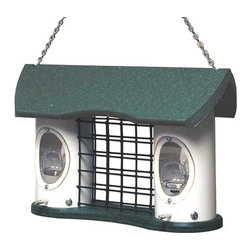Vari-Craft - Recycled Plastic Triple Treat Feeder - Able to dipense two different seed blends and a suet cake. Made from recycled plastic lumber
