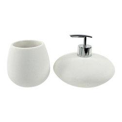 Gedy - Round 2 Piece White Bathroom Accessory Set - Exquisite bathroom accessory set perfect for modern & contemporary designed bathrooms.