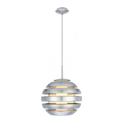 Eglo - Mercur Pendant - Mercur 1 Light Pendant in Brushed Aluminum Finish with Opal Frosted Glass