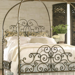 European Excursions Wood Collections Rue de Provence Metal Queen Bed - This gorgeous iron bed with a canopy comes from the Rue de Provence collection.