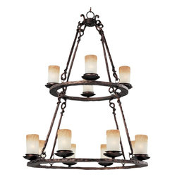 Joshua Marshal - Twelve Light Oil Rubbed Bronze Wilshire Glass Candle Chandelier - Twelve Light Oil Rubbed Bronze Wilshire Glass Candle Chandelier
