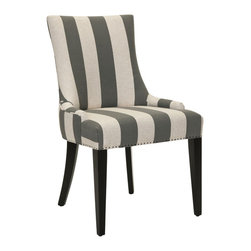 Safavieh - Safavieh MCR4502H Becca Fabric Dining Chair - The Becca chair features a dressing elegance without being stuffy, so it's a perfect companion for country homes, city apartments or formal manors. The grey and bone stripe Becca, with dark java finished legs, features a high back, sloped arms and exposed