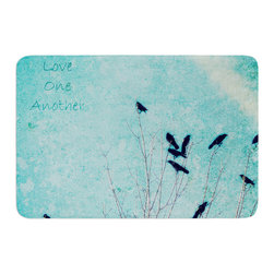 "KESS InHouse - Robin Dickinson ""Love One Another"" Blue Birds Memory Foam Bath Mat (17"" x 24"") - These super absorbent bath mats will add comfort and style to your bathroom. These memory foam mats will feel like you are in a spa every time you step out of the shower. Available in two sizes, 17"" x 24"" and 24"" x 36"", with a .5"" thickness and non skid backing, these will fit every style of bathroom. Add comfort like never before in front of your vanity, sink, bathtub, shower or even laundry room. Machine wash cold, gentle cycle, tumble dry low or lay flat to dry. Printed on single side."