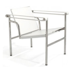 IFN Modern - Le Corbusier LC1 Inspired Chair-White - 100% Italian Leather - Stainless steel frameComes with foot-caps to prevent damaging floorAll joint are welded, grinded, sealed and sanded for a smooth finish