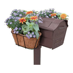 None - Flower Garden Mailbox Planter - Charm your mail carrier and your neighbors with this whimsical mailbox planter. An easy way to add a fresh,blooming decoration to nearly any style of mailbox,the rust-proof planter pair retains moisture,nourishing your chosen combination of flowers.