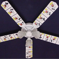 Ceiling Fan Designers Disney Mickey Mouse 2 Indoor Ceiling Fan - Perfect for your Disney-themed room, the Ceiling Fan Designers Disney Mickey Mouse 2 Indoor Ceiling Fan is filled with Mickey Mouse magic. This ceiling fan and light kit combo has a classic Mickey Mouse design with a white background. It comes in your choice of size: 42-inch with 4 blades or 52-inch with 5. The blades are reversible so you the all-over Mickey Mouse design on one side and classic white on the other. It has a powerful yet quiet 120-volt, 3-speed motor with easy switch for year-round comfort. The 42-inch fan includes a schoolhouse-style white glass shade and requires one 60-watt candelabra bulb (not included). The 52-inch fan has three alabaster glass shades and requires three 60-watt candelabra bulbs (included). Your ceiling fan includes a 15- to 30-year manufacturer's warranty (based on size). It is not an officially licensed product. Licensed products were used as decorations.