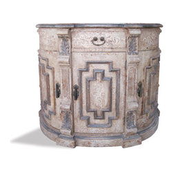 Koenig Collection - Vanity Morocco, Greek Sage And Bone Scrolls Torched And Distressed With Wood Top - Vanity Morocco, Greek Sage and Bone Scrolls Torched and Distressed with Wood Top