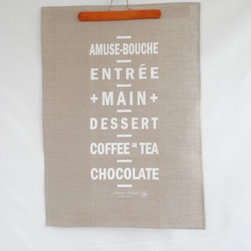 Vintage Tram Roll Menu Tea Towel - A cheeky reminder of how to craft a complete meal, this tea towel looks sharp either on the wall or over the shoulder while cooking.