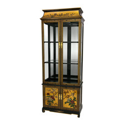 Oriental Furniture - Lacquer Curio Cabinet - Gold Birds and Flowers - This exquisite cabinet is the perfect place to display a prized collection of porcelain, fine crystal, mementos, or objects d'art. Handcrafted in a small, family-owned artisans' collective in Guangzhou, this cabinet features an elegant Ming design with hand-applied gold leaf and a lacquer finish. Boasting an overhead light, a mirrored back, and crystal-clear glass shelves and side panels, your treasures will look fantastic from every angle.