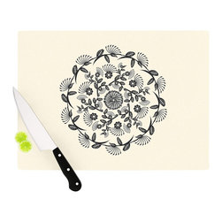 """Kess InHouse - Famenxt """"Black & White Decorative Mandala"""" Geometric Cutting Board (11.5"""" x 15.7 - These sturdy tempered glass cutting boards will make everything you chop look like a Dutch painting. Perfect the art of cooking with your KESS InHouse unique art cutting board. Go for patterns or painted, either way this non-skid, dishwasher safe cutting board is perfect for preparing any artistic dinner or serving. Cut, chop, serve or frame, all of these unique cutting boards are gorgeous."""