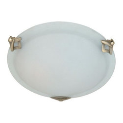 Artcraft - Clips 3-lt Flush Mount - Medium round flush mount with semi-clear white glass in brushed nickel finish.